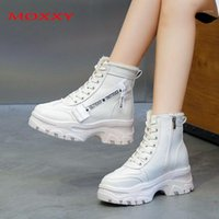 Moxxy 2020 Yeni Platform Ayak Bileği Çizmeler Kadınlar Için Ayakkabı Bej Siyah Deri Kadın Tıknaz Çizmeler Sıcak Kürk Peluş Kış Snow1