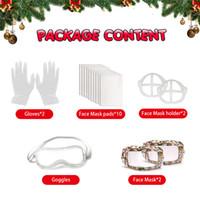 Presentes de Natal Conjuntos Festa de Ano Novo Protective Terno 1Box = Luva * 2 + Almofadas de máscara * 10 + suporte de máscara * 2 + googles * 1 + máscara facial * 2 gwe2981