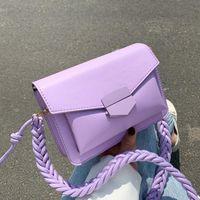 Cross Body Fashion Pequeno Ombro Bolsas Para Mulheres Weave Strap Crossbody Flap Messenger Bag Bolsa Sólida Cor Feminina Bolsa de Couro PU Bolsa