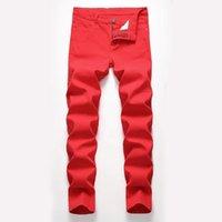 Модные мужские джинсы спроектированы прямые тонкие пригодные джинсовые джинсы брюки повседневные тощие брюки красные желтые мужские уличные брюки 1