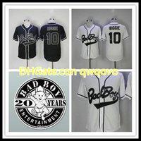الرجال رخيصة سيئة الصبي البيسبول جيرسي 10 biggie بارد قاعدة قمصان رياضية badboy مع 20 سنوات التصحيح مخيط S-3XL الشحن السريع جودة عالية