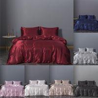 Sıcak satış tasarımcı yatak takımları 3 adet katı yatak takım elbise nevresim ipek tasarımcı yatak malzemeleri stokta