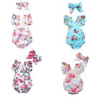 Мода Newborn Baby Onesies Justsuits Baby Girl Повседневная Одежда Синий Цветочный Точек Восхождение Костюм Без Рукавов Треугольный Вослить Пуловер Ty30