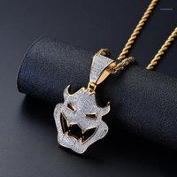 Collares colgantes Free Swee Out Out Mask NecklaceHigh Calidad CZ Collar de latón Hip Hop Changker Cadena de Tenis Joyería Gift1