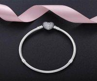 Otantik 925 Ayar Gümüş Kalp şeklinde Tam Elmas Bilezikler Anlar Bileklik Avrupa Pandora Stil Charms Takı Womens Hediye Için Uyar