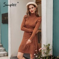 Simplee Casual Turtleneck women knitted dress Autumn winter long sleeve lace up dress elegant style female sweater 2020