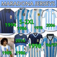 4XL الأرجنتين الرجعية جيرسي 1986 Maradona Champion الإصدار 1978 1985 1994 1996 1998 2006 2014 الكلاسيكية خمر + أطفال أطقم كرة القدم قمصان