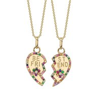 2 шт. Набор тормозных сердец позолоченные позолоченные моды ожерелье лучший друг подарок подарок подарок Rainbow CZ асфальтированные моды ювелирные изделия 294 N2