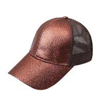 Kız At Kuyruğu Beyzbol Şapkası Sequins Floresan Hip Hop kadın Kapaklar Yaz Yanıp Sönen Örgü Şapka Özel Streetwear Rahat Spor Cap H SQCOXW