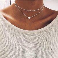 الفضة سلاسل الذهب متعدد الطبقات المختنقون القلائد الحب القلب قلادة قلادة المرأة الأزياء والمجوهرات وستراندي هدية