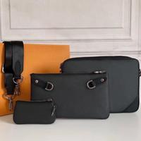 디자이너 메신저 가방 남자 3 조각 세트 지갑 숄더 가방 가방 남성을위한 패션 핸드백 노 십대 미니 패키지 어깨 가방 남자 도매