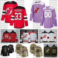 2021 Настройка 33 Fredrik Claesson New Jersey Devils Jerseys Golden Edition Camo ветеранов день борется от рака на заказ сшитые хоккейные изделия