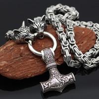 Мужские металлопроизводитель качества в стиле императорская цепь старинные Wolf Nordic Viking Hammer Amulet ожерелье высокой головки Celtic ювелирные изделия Q1216 FWHJJ
