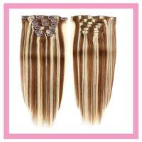 Malaysian Ins 100% Cabelo Humano em Popular 6/613 Ombre dois tons piano cor em linha reta # 6/613 extensões de cabelo 70g 100g