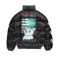 Hip Hop Jacke Parka Sprühfarbe Graffiti Streetwear Männer Windjacke Harajuku Winter Gepolsterte Jacke Mantel Warme Outwear Bär 201119