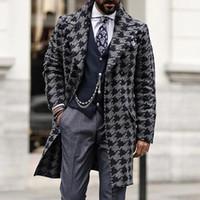 Designer Mens Men Lungo Cappotto a vento di lana Casual Doppio Bresed Mens Sovracco di lana Inverno 2020 Giacca HoundSoth Giacca da uomo Trench Coat