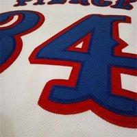 Rare121 # 34 Paul Pierce Kansas Jayhawks Branco, Azul 121's Alta Qualidade Bordado Colégio Jersey ou Personalizado Qualquer nome ou Número Jersey