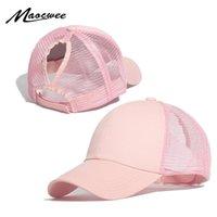 Top Caps Maocwee Beyzbol Şapkası Kadınlar Ayarlanabilir Dağınık Bun Siyah Pembe Şapka Kızlar Rahat Pamuk Snapback Yaz Mesh Şapkalar