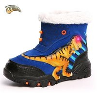 Dinoskulls Niños Botas calientes Luces para niños Botas LED Luminosas Botas de dinosaurio grande Zapatos cálidos para niños Raquetas de nieve LJ201029