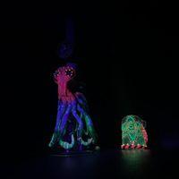 Vente limitée pieuvre fluorescente, bangs en verre, combinaison de verre et de céramique, connecteur de 19 mm, bol arc-en-ciel, trous d'air d'UFO 80 trous d'air