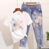 Amolapha Femmes Heavy Work Broderie T-shirts de fleur 3D + Jeans 2pcs Ensembles de vêtements Été Casual Costumes Y200701