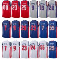 Basketbol Derrick Rose Jersey 25 Josh Jackson 20 Jerami Grant 9 Killian Hayes 7 Blake Griffin 23 Şehir Kazanılan Baskı Mavi Beyaz