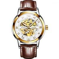 Homem de couro assistir relógios de pulso automáticos para homens luminosos relógios masculinos mecânicos Tourbillon relogio masculino impermeável1