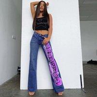 E menina jeans letra impressão vintage y2k calça reta calças mulheres harajuku streetwear denim calças estéticas cintura alta