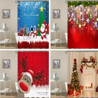 Alta qualidade Natal impresso cortina de chuveiro impermeável cortinas de chuveiro seco rápido para banheiro com ganchos decoração presentes1