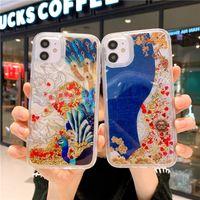 Yüksek kaliteli sıvı quicksand Çin ay yeni yıl tavuskuşu Phoenix renkli cep telefonu kılıfı iphone 11 pro için 12 pro 7 8 artı xs max xr xs