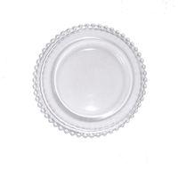 27cm Runde Perlengerichte Glasplatte mit Gold / Silber / klar Perlenrand Runde Dinner Service Tablett Hochzeit Tischdekoration GGA3206 141 G2