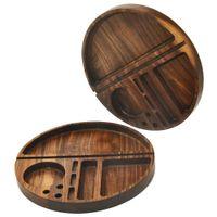 Bandeja de madeira do rolamento com diâmetro do sulco 218mm madeira natural fumando bandejas de rolo de tabaco acessórios