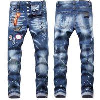 Erkek Sıkıntılı Sıska Kot Moda Erkek Kot Ince Fermuar Erkek Denim Pantolon Hip Hop En Kaliteli Erkekler Boya Jeans