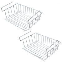 Rafta depolama sepeti altında, 2 adet kabine depolama tel sepet organizatör mutfak kiler için uygun çift kanca