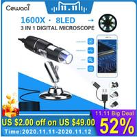 Mini Kameralar Cewaal 3 1 Taşınabilir HD 1600X 2MP Zoom Mikroskop 8 LED Mikro USB Tip-C Dijital El Büyüteç