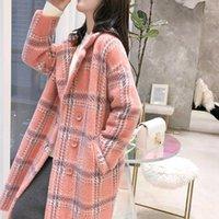 Filosofia Bella 2019 Outono elegante xadrez mulheres moda casacos de lã casacos casuais colarinho casaco casaco feminino quente outwear1