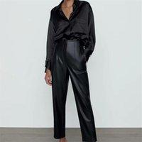 ZXQJ Femmes 2021 Mode Faux Cuir Visible Seam Détail Détail Pantalons Vintage High Taille Fermeture à glissière Femelle Ankle Pantalons Mujer