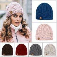 Retro Beanie Diamond Lattice Knitted Hat Thick Autumn Winter Outdoor Windproof Warm Knitting Skull Cap 8 Styles LJJP805