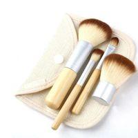 Hölzerne Makeup Pinsel schöne professionelle Bambus auswändigen Make-Up-Bürsten-Werkzeuge mit Fall-Taste Leinen-Tasche 4pcs Set Kit WQ330