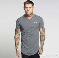 SIK HIP HOP T-shirts hommes Streetwear Tops à manches courtes Noir T-shirt long T-shirt longline