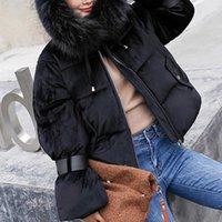 Женские пудовые Parkas Большой натуральный енот мех с капюшоном зимнее пальто женские белые утка куртка толстые теплые женские верхние одежды