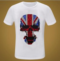 Marca Streetwear Ganbu Diamantes Verão Hip Hop Loose T-shirt Homens Moda Casual Preto T-Shirts Tops ZP5F