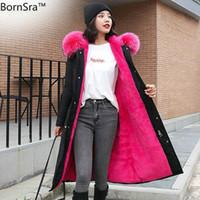 Derece Kar Giymek Uzun Parkas Kış Ceket Kadın Kürk Kapüşonlu Giyim Kadın Kürk Astar Kalın Kış Ceket Kadınlar
