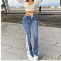 Bayan Jeans Sokak Stil Bahar Sonbahar Yüksek Bel Moda Delik Tasarım Kadın Seksi Casual Zayıflama Basit Düz Pantolon