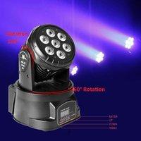 Groothandel 80W 7-RGBW LED Auto / Voice Control DMX512 Mini Moving Head Stage Lamp (AC 110-240V) Zwarte hoogwaardige podiumverlichting