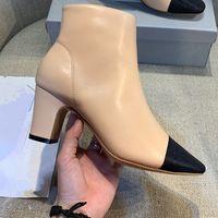 2019 الخريف والشتاء الجديدة الأحذية النسائية ذات الكعب العالي الأسود، البيج أزياء اللون مطابقة كبيرة الحجم الكعوب الكاحل boty Y200723