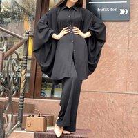Etnik Giyim Md Müslüman Moda 2 Parça Setleri Kadınlar Eid Mübarek Kaftan Dubai Abaya Siyah Gömlek Pantolon Suit İslam Artı Boyutu Üst Elbiseler