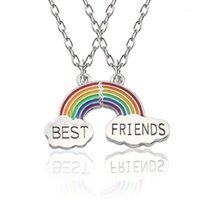 2 unids / set colorido arco iris nubes colgante rompecabezas collar mejor amigo bff joyery kids gift1