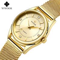 ZEGAREK DAMSKI Frauen Uhren Wwoor Top Luxus Gold Quarz Uhr Damen Goldenes Mesh Elegante Armbanduhr Frauen Relogio Feminino 201114