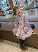 달콤한 여자 꽃 인쇄 드레스 어린이 퍼프 슬리브 꽃 드레스 아이 레이스 수 놓은 턱받이 공주 드레스 A5521